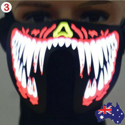 AU Face Mask Led Light Up Flash Halloween Party Costume Dance Cosplay Decor R1E