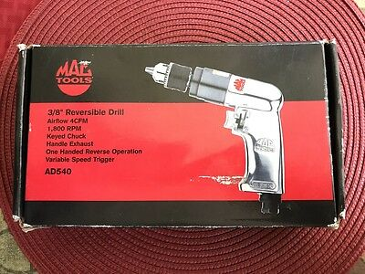 "Mac Tools 3/8"" Reversible Aluminum Keyed-Chuck Air Drill-Item # Ad540 *new*"