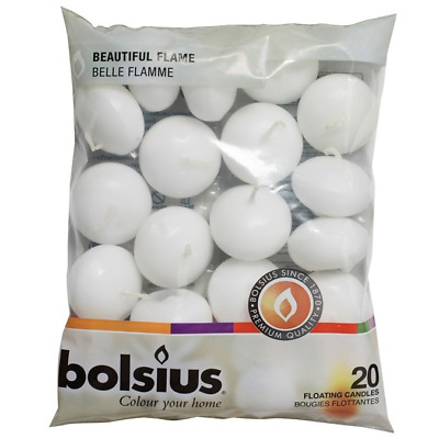 White Floating Candles - Pack of 20 by Bolsius