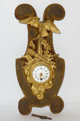 Antique Filigree Table Clock Pendule Fireplace Watch Um 1800 Fire-gilded