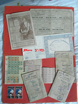Lot fond de Tiroir- Documents / Cartes de rationnement- 1° G.M. et 1942- A VOIR.