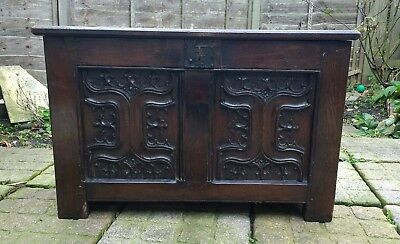 Very Rare Henry VII 15th Century English Oak Chest C1480-1500