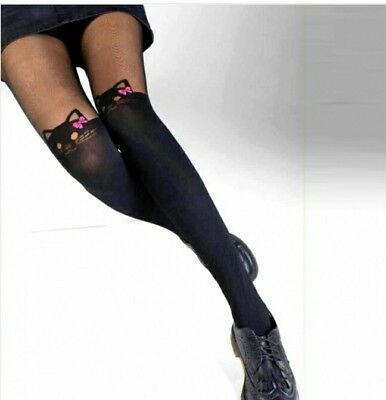 *** collant sexy fantaisie  jambiere tete de chat noeud rose ***