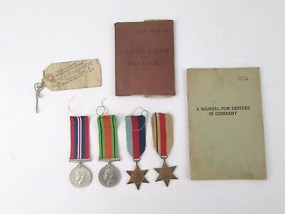 WW2 Campaign Medals Group w/ Ribbons Service Book Shipping Label Driving Manual