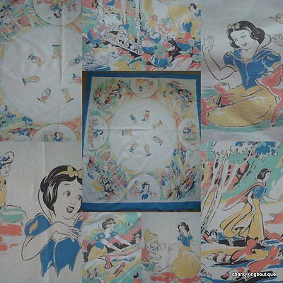 Rare Vintage Snow White and the Seven Dwarfs Tablecloth Disney Disneyana