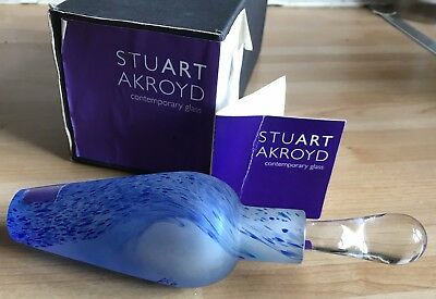 Stuart Akroyd Studio Art Glass Frosted/Blue Scent Bottle.