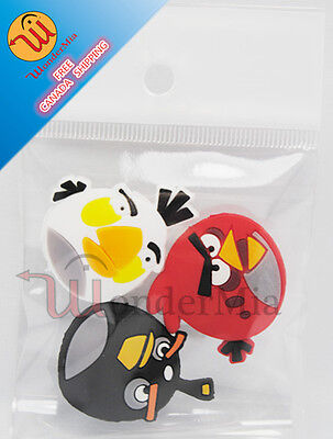 3pcs Silicone Angry Bird Tennis Racquet Vibration Dampener Shock Absorber (6c)CA