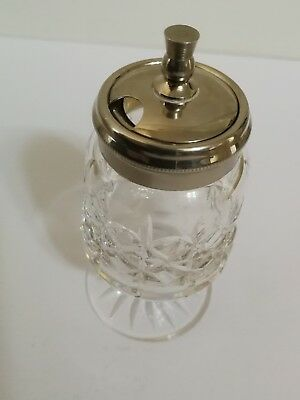Elegant cut glass mustard pot with silver lid