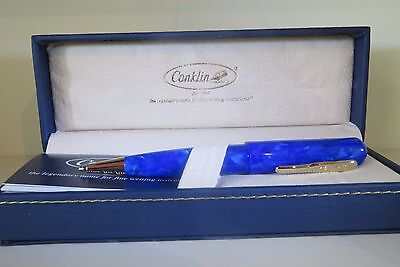 Conklin All American Lapis Marble Blue Ballpoint Pen New Amazing Color Mint