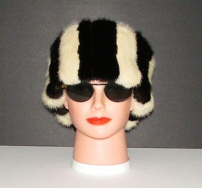 """EXTRA WIDE LUXURIOUS BLACK AND IVORY WHITE MINK FUR HEADBAND 22"""" X 5""""approx."""