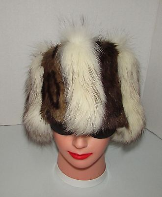 """EXTRA WIDE  WHITE FOX /MUSKRAT DYED LEOPARD STYLE FUR HEADBAND   23"""" X 6""""approx."""
