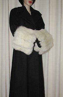 """VINTAGE SUPERBE  PAIR OF  FLUFFY WHITE FOX  FUR COAT CUFFS  22""""1/2 X 9"""" approx."""
