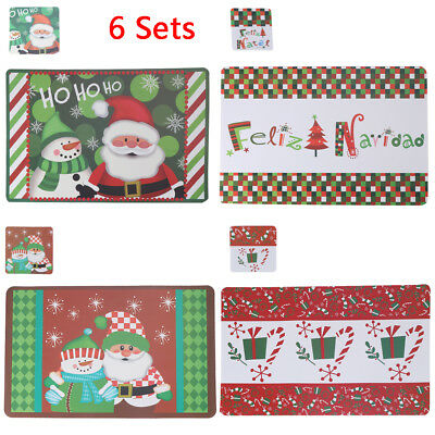 CHRISTMAS TABLE PLACE SET 6 COASTERS 6 PLACE MATS Dinning Snowman Santa Claus