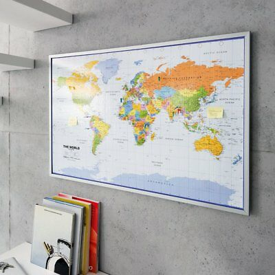 World Map AtlasTravel Pinboard Cork Pin Board Poster 12 Flag Pins Framed 90 x 60