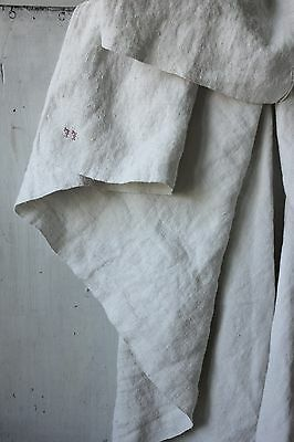 Linen sheet French warm toned 19th century heavy weight LL mono 83X75 old fabric