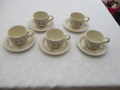 poole pottery springtime 5 cups and saucers very good used condition