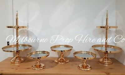 Gold wedding cake stand prop hire