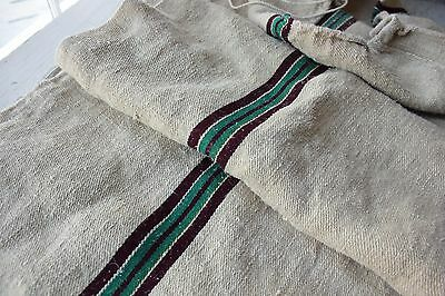 GRAINSACK GRAIN SACK linen BURGUNDY + GREEN rare unused hemp hand woven