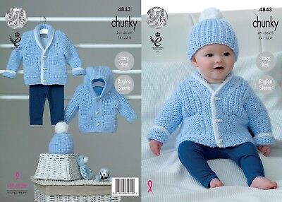 KINGCOLE 4843 BABY CHUNKY KNITTING PATTERN -14-22inch- not the finished garments