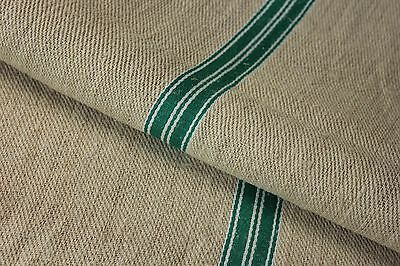 GRAINSACK GRAIN SACK fabric linen homespun European GREEN WHITE stripe bag feed