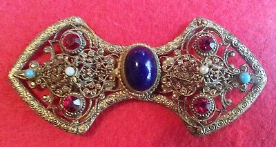 Vintage Large Pretty Buckle With Glass And Other Stones