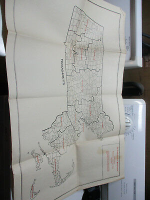 1928 Vintage Map Commonwealth of Massachusetts Agricultural College USDA Towns +