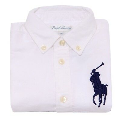 9300T camicia bimbo RALPH LAUREN bianco pesante white shirt for winter boy