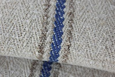 GRAINSACK GRAIN SACK blue stripe natural HEAVY herringbone weave bag feedsack