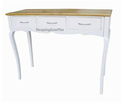 Solid 3 Drawer White Oak Top Wooden Console Table Lobby Hall Room Dressing Desk