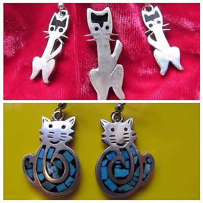 2 sets CAT EARRINGS, 1 matching pin - VINTAGE STERLING SILVER Marked Taxco