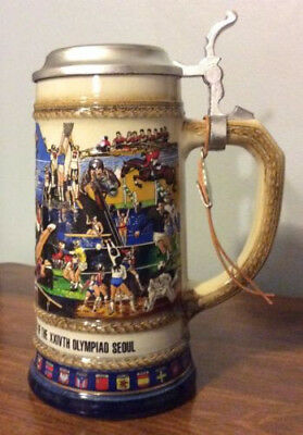 1988 OLYMPIC GAMES SEOUL Anheuser Busch Stein LIMITED EDITION by Gerz With Box