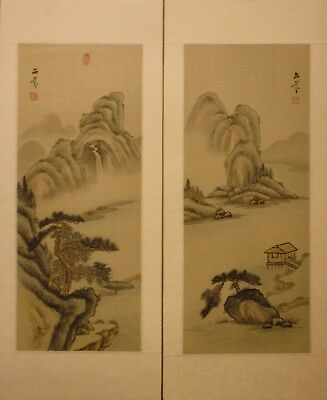"""CPS22 PAIR traditional landscape Chinese paintings on silk 20""""x8""""/15""""x6"""""""