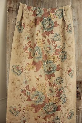 Antique Printed block printed LINEN curtain 1900 FADED FLORAL blue yellow