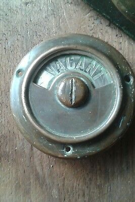 Early Vacant Engaged Brass Toilet Door Lock Architecturual Salvage Original