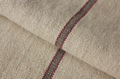 Vintage Grain sack grainsack feed bag RED GRAY GREY stripe RARE HEMP