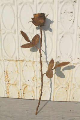 Recycled Metal Single Rose Stake Home Decor Garden Accent