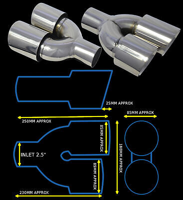 Stainless Steel Dual Universal Exhaust Tailpipes Yfx-0260-Sp35  Sab