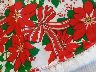 """Vintage CHEERFUL Christmas ROUND Tablecloth POINSETTIA & Ribbons LACE Trim 61"""""""