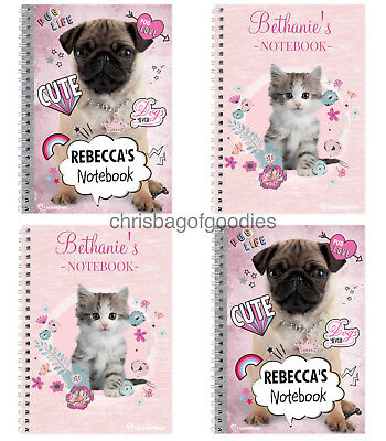 PERSONALISED A5 Paper CAT DOG Lover Pink NOTEBOOK Gifts for Childrens Kids Boys