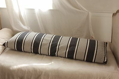 Antique Ticking French bolster striped blue indigo feather down pillow quilt