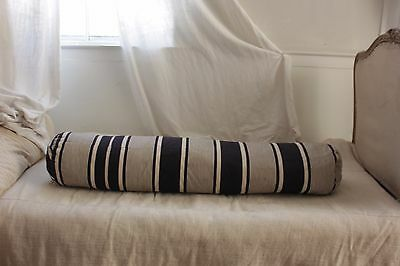 Antique Ticking French bolster  striped blue indigo feather down pillow insert