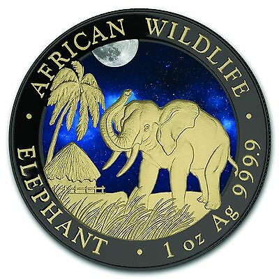 Silver Somalia Elephant 2017 Night Colorized, Gold Gilded& Ruthenium plated Coin