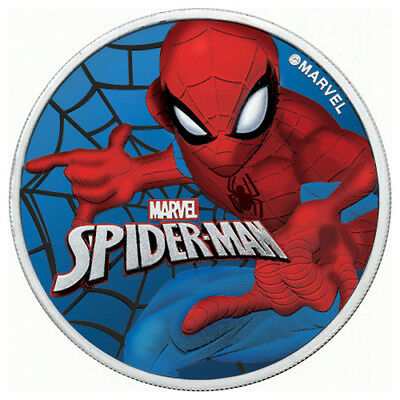 New! GLOW IN THE DARK SPIDERMAN Colorized Coin with Box & CoA 1 oz 9999 Silver