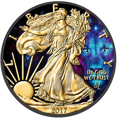 American Silver Eagle Zodiac Series Leo Coin Colorized, Gold & Ruthenium plated