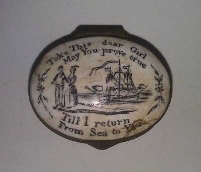 "Antique 18th C. ""Till I Return From Sea "" Bilston Enameled Patch Box w/Mirror"