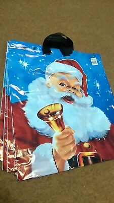 Santa with Bell, 43x47x53cm , Christmas gift carrier plastic printed bags,