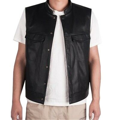 2017 Mens Hot Motor Cycle Biker Style Leather Casual Vest Black Fashion Outwear