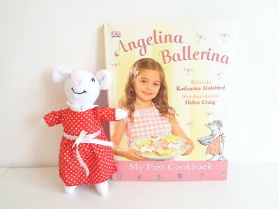 """ANGELINA BALLERINA - 8"""" SOFT TOY ANGELINA MOUSE with MY FIRST COOKBOOK"""