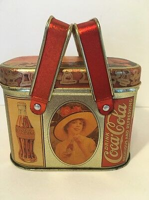 Vintage Bristol Ware Coca-Cola Coke Box Tin With Lid and Handles Ladies in Hats