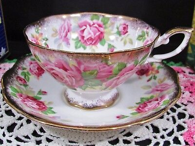 Royal Standard Pink Roses Sponged Gold Wide Mouth Tea Cup And Saucer